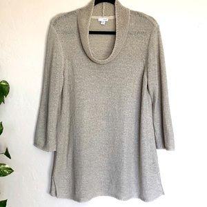 NWOT Pure Jill Cowl Neck Knit 3/4 Sweater Sz L